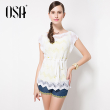High Quality Women Ladies Round Neck Hollow Out  Pullover Jumpers Short Sleeve Knitwear Knited Sweater Tops SE450204(China (Mainland))