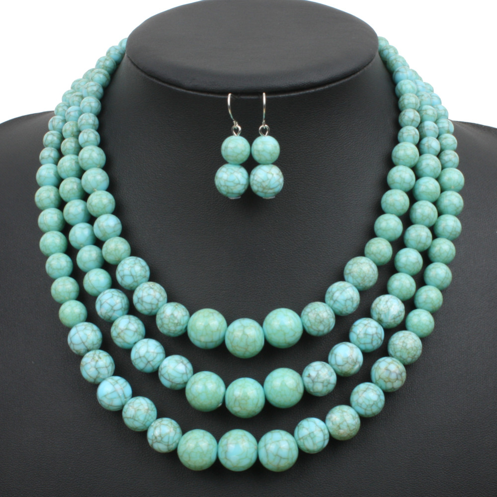 Multi strand howlite bead necklace new fashion plastic for Turquoise colored fashion jewelry
