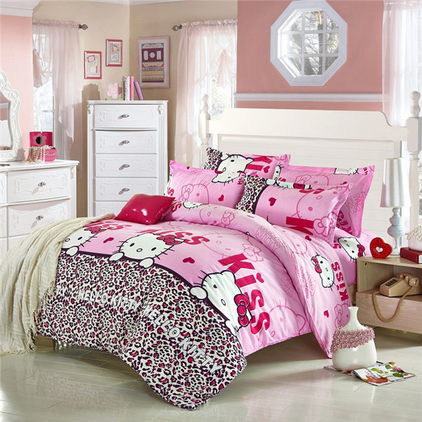 Free shipping pink hello kitty cartoon Bedding Set bed linen for children Queen size Quilt Duvet Cover Pillow(China (Mainland))