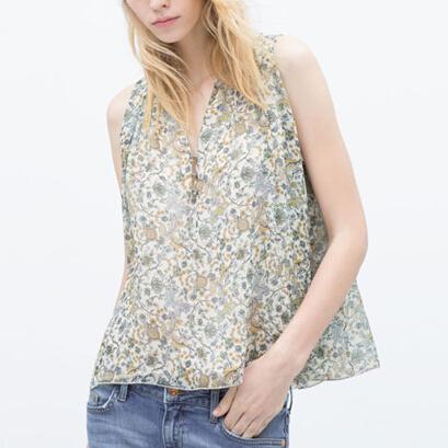 New Women V-neck Sleeveless Chiffon Tops Floral Prints Blouses Ladies Loose Shirts Casual Brand Designer Tops Blusas(China (Mainland))