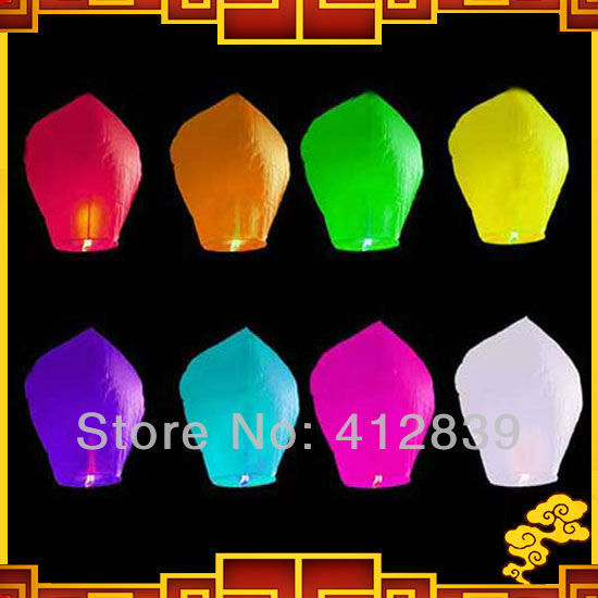 25pcs/lot Mixed Color Wishing Light UFO Sky Wishing Lantern Chinese Lantern for Wedding with free shipping