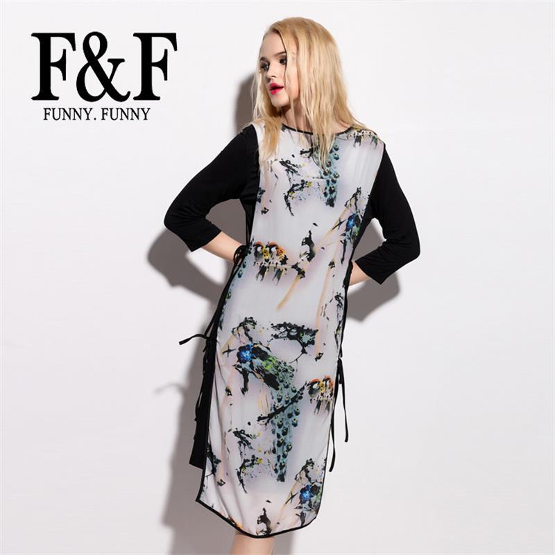Brief Print Flora Ladies Dress 2016 Summer Fashion Chinese Style Ink and Wash Causal Dress FunnyFunny