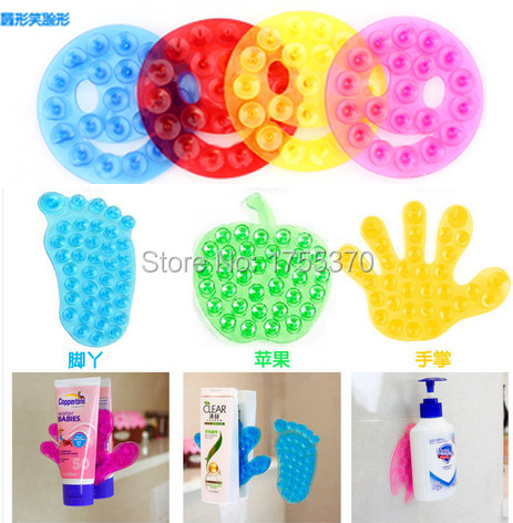 2 PCS Brand New Lovely Shape Magic Strong Double Sided Suction Palm PVC Suction Cup Double Magic Plastic Bathing Accessories