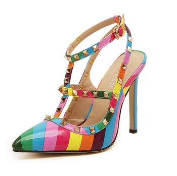 2015 Fashion Brand Designer Women Pumps women Shoes Sandals Rainbow Colors Rivets High Heels Shoes Summer Sapato Feminino