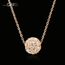 Buy DFN252 Lucky Ball Rose Gold Pated Charms Necklaces & pendants Fashion Brand Jewelry Women Crystal Chain colares for $3.91 in AliExpress store