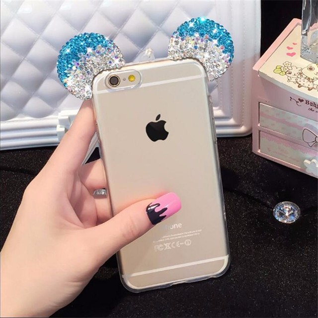 Fashion 3D Pink Mickey Mouse Rhinestone ears Case For iPhone 5 5s Se 6 6S Plus 7 7Plus Cover Soft TPU Transparent coque girl