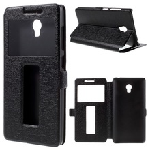 Dual Windows Silk Leather Stand Cover for Lenovo Vibe P1
