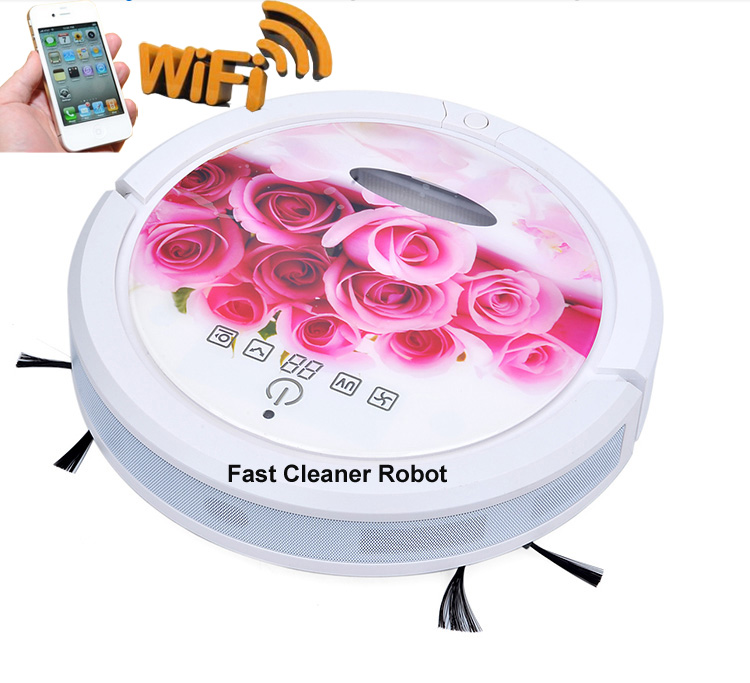 WIFI Smartphone App Control Sweeping Vacuum Sterilize Wet Mop And Dry Mop Mini Vacuum Cleaner Robot With 150ml Water Tank(China (Mainland))