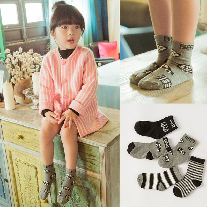 2015 Cute Colors Unisex Baby Girl Boy socks cartoon car design cotton sock - Kids' Happy store