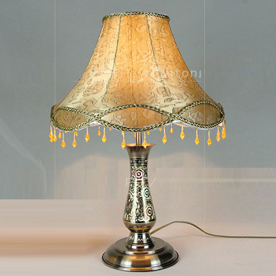 european vintage bronze bedroom table lights carved copper bedsides table lamps fabric lampshade