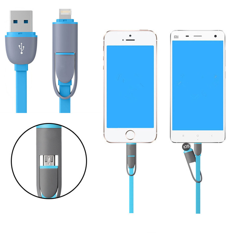 High Speed 2 in 1 Flexible Micro USB Cable Data, 1M Flat Recharging Adapter Data Cable for Iphone IOS for Samsung for LG Android(China (Mainland))
