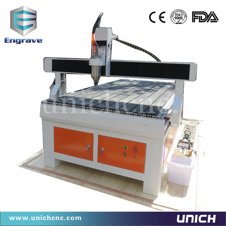 UNICH most popular 1200*2400mm 1.5kw/3.0kw/4.5kw/5.5kw cnc router/cnc router 4 axis dust collector(China (Mainland))