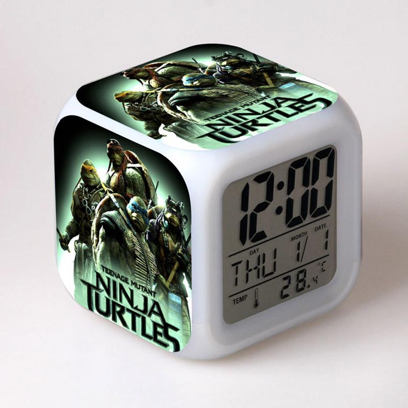 Hot Sale! New Arrival LED Colorful Lighting Teenage Mutant Ninja Turtles TMNT Action Figure Toys With Alarm Clock Kids Toys(China (Mainland))