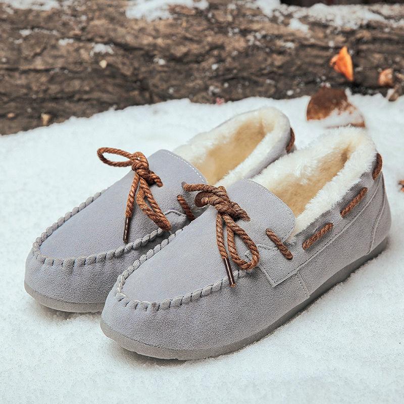 Hot Sale Women Casual Fur Shoes Winter Warm Women Cotton Bean Shoes Korean Fashion Style Students Daily Light Snow Shoes Flats