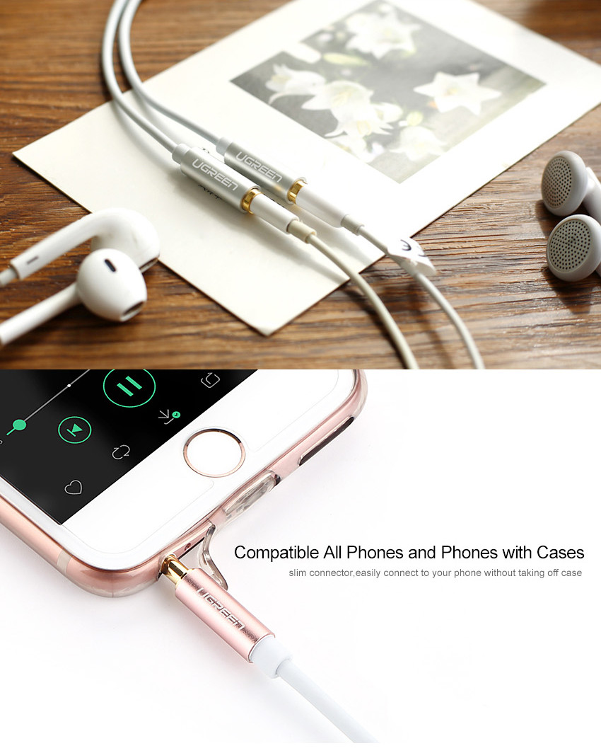 image for Ugreen 3.5mm Audio Aux Cable For Car Male To 2 Female Stereo Earphone