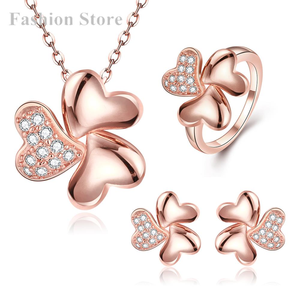 18K Gold Platinge Jewelry Set Clover Necklace Earrings Ring Rose/Yellow Gold/Platinum Plated Party Sets S507-B - Fashion Jewels for Women store