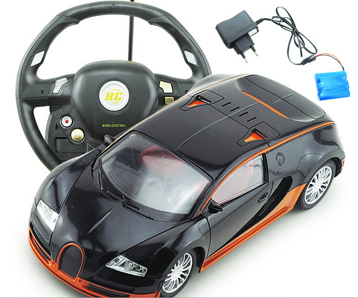 free shipping children 39 s toy car four 1 16 window bugatti with steering wheel remote control car. Black Bedroom Furniture Sets. Home Design Ideas