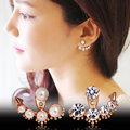 Fashion Earing Big Crystal Rose Gold Silver Ear Jackets Jewelry High Quality Leaf Ear Clips Stud