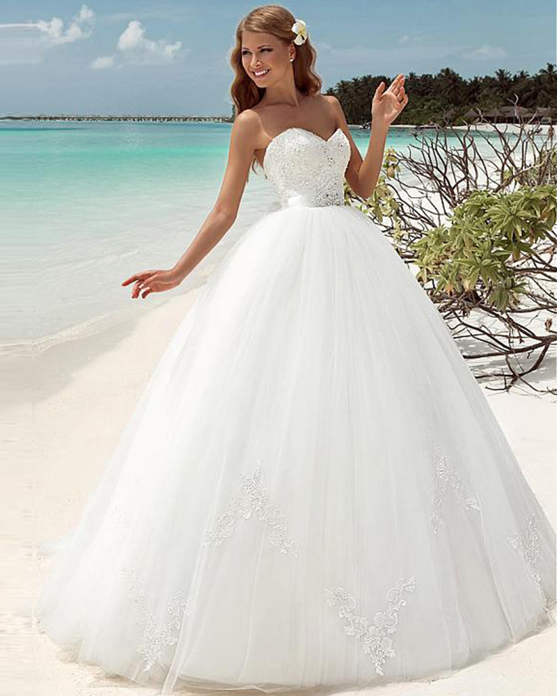 Wedding Gown Lace Up Back : Strapless neck backless lace up back ball gown wedding dresses