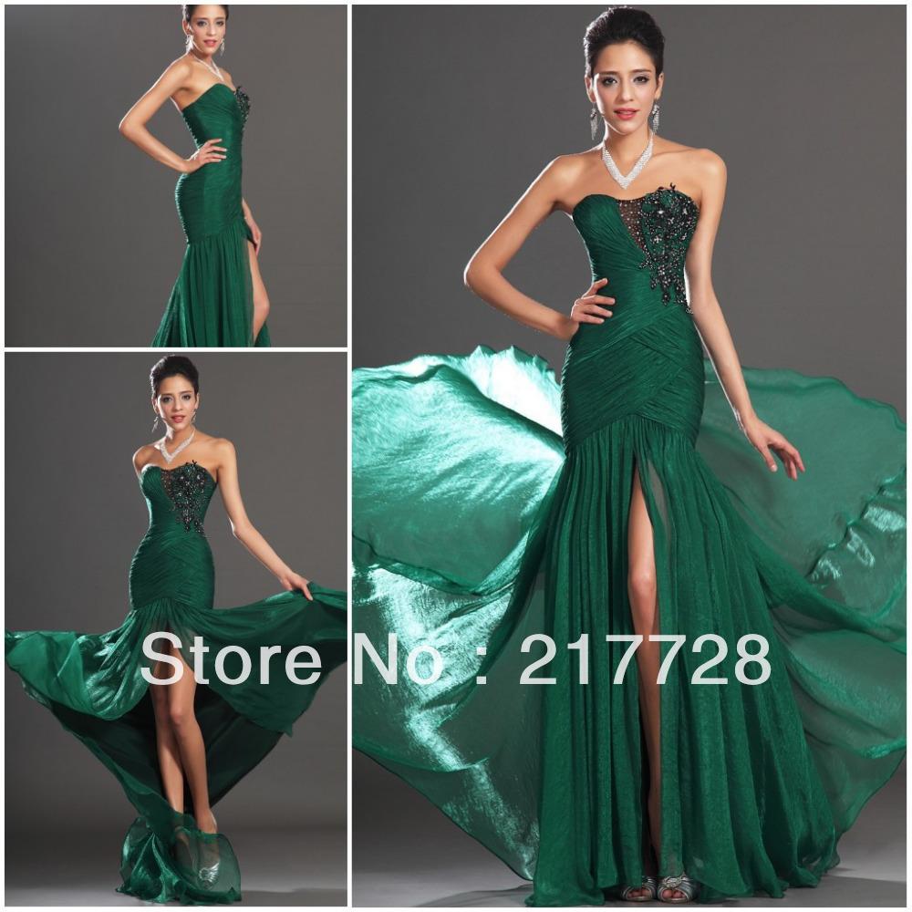 Emerald long formal dress