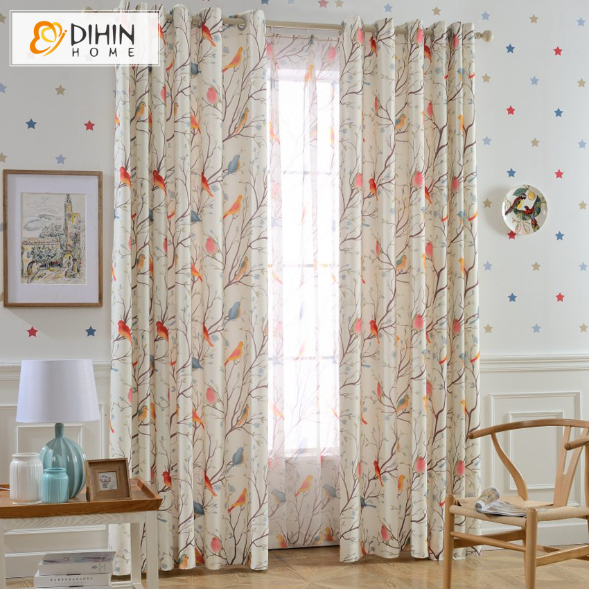 DIHIN 1 PC Garden Birds And Tree Curtains For Living Room