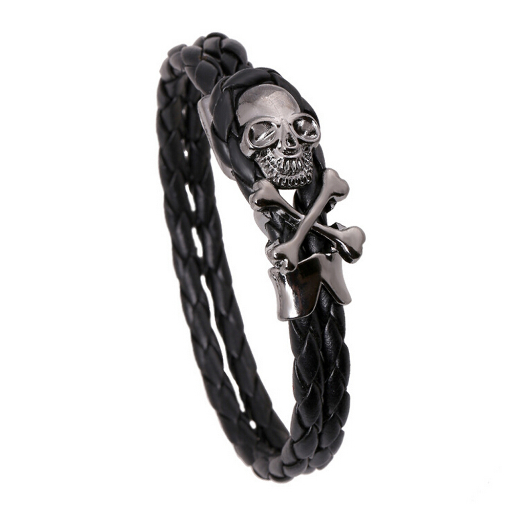 Cool Skull Bracelet Men Women Braided Leather Charm Bracelets Bangles Personalized Hiphop Jewelry Male Accessories Boyfriend - Punk Co.,Ltd store