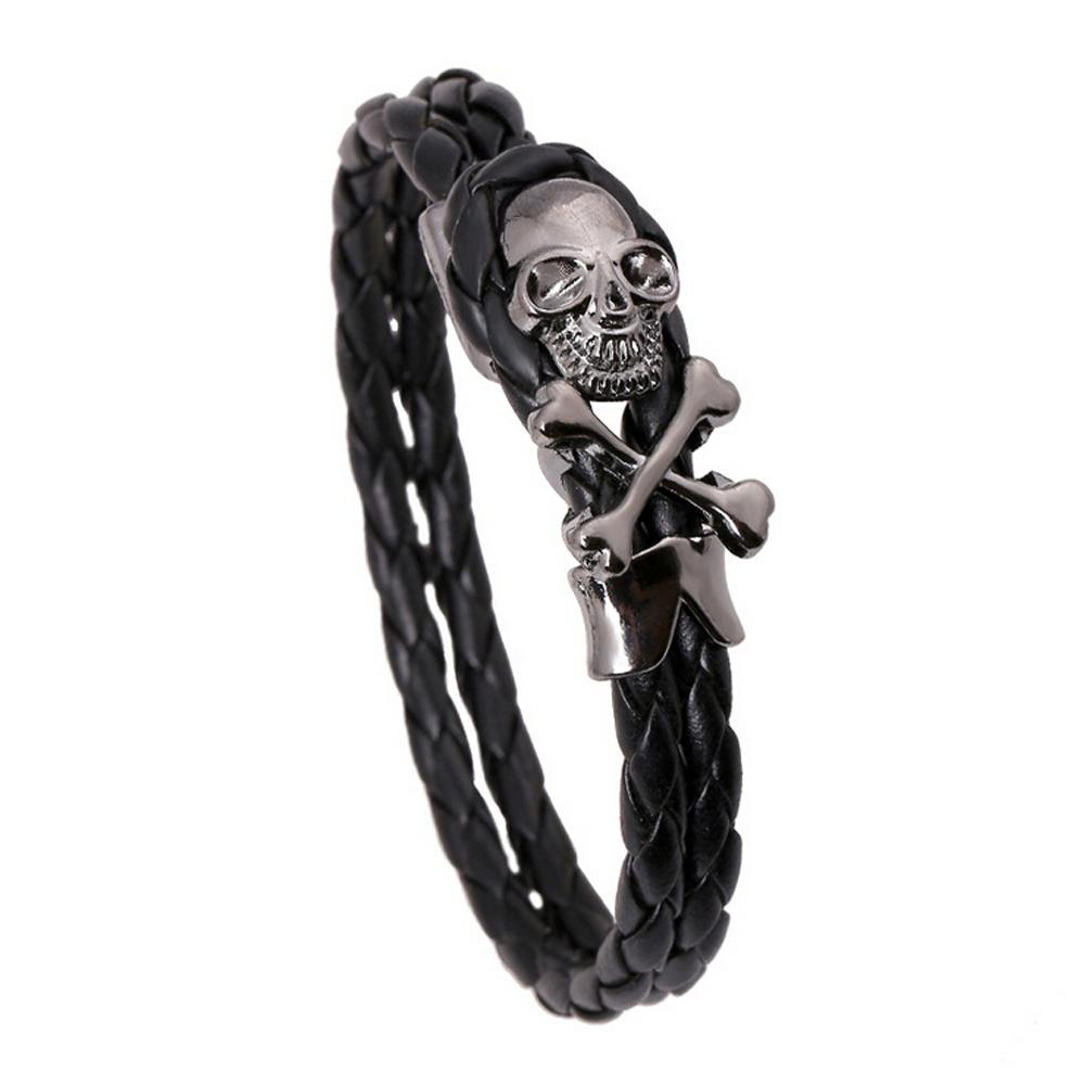 Cool Skull Bracelet Men Women Braided Leather Charm Bracelets Bangles Personalized Hiphop Jewelry Male Accessories Boyfriend  -  Punk Co.,Ltd store