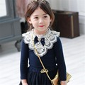 Girls Clothing Long Sleeve Embroidery Lace Trimmings O neck Shirts with Bow for Children Blouse Girl
