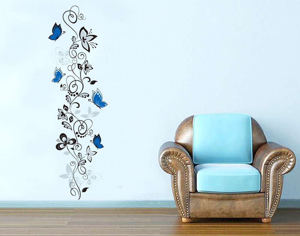 Creative Flower Vine and Butterflies Wall Decals, Living Room Bedroom Removable Wall Stickers Murals(China (Mainland))