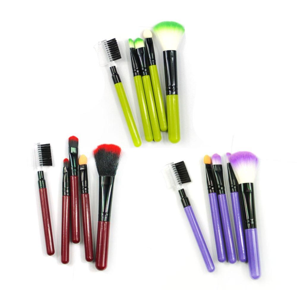 New 5Pcs Makeup Brush Set Tool Blush Eyeshadow Leopard Brushes Lipstic Cosmetic XL4