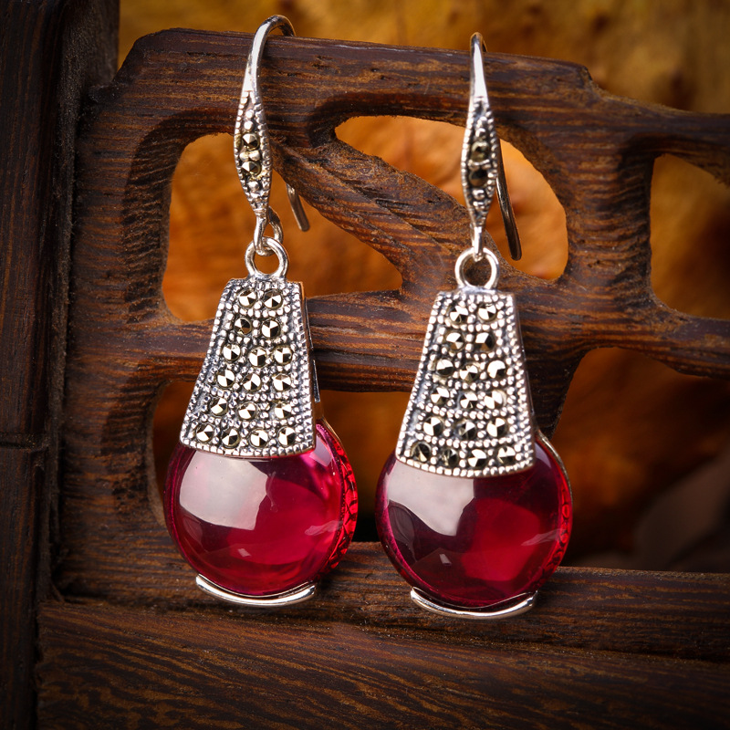 The character of silver products wholesale 925 sterling silver inlaid Agate Earrings noble ladies<br><br>Aliexpress