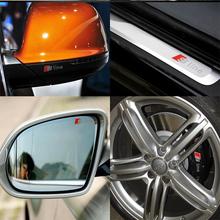 4 pcs Durable RS Sline S line emblem logo Car PVC Race Trim Sticker Caliper Disc Brake wheel cylinder For Audi A4 A6 A5 A7 A3 Q3