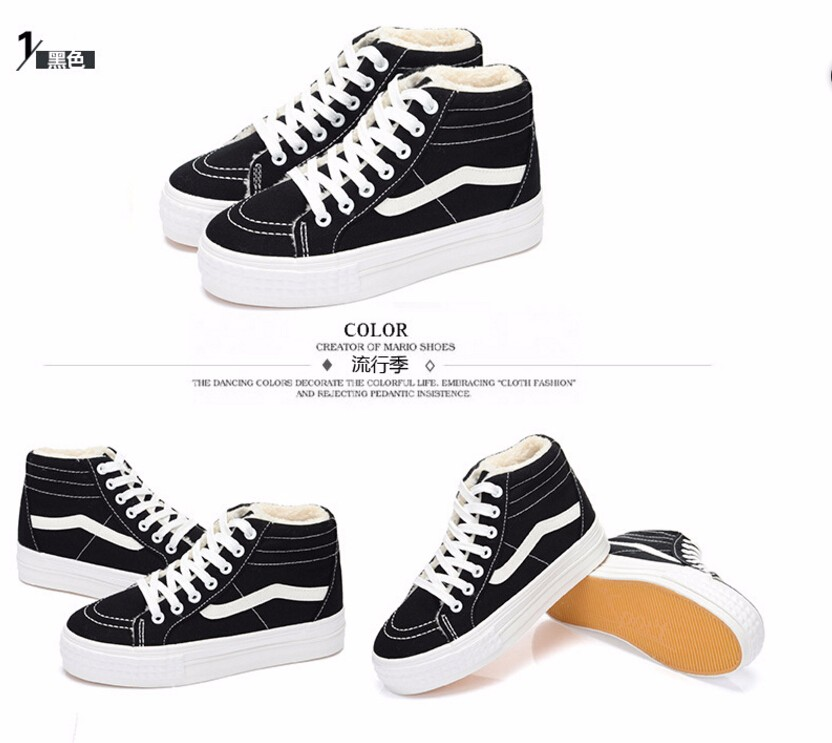 Free shipping 2016 winter high-top canvas shoes women flat shoes casual shoes to keep warm