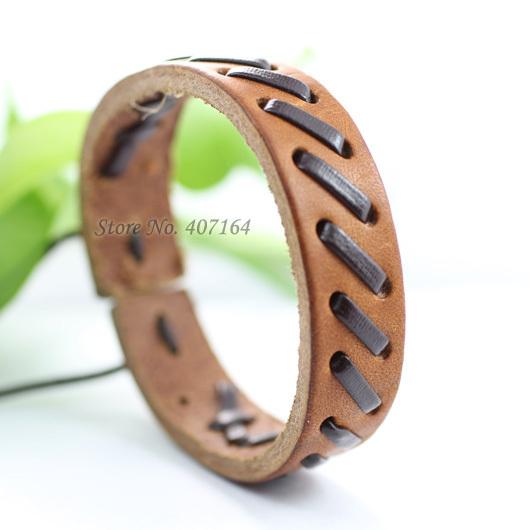 SF102- brown ethnic men&women jewelry handmade genuine wrap leather bracelet - SunFlower Trade Co.,Ltd store