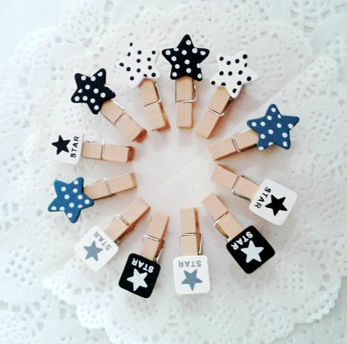 Free Shipping/cute black white star Wooden Cartoon small Paper Clip/Multifunction Fashion Korean Style(China (Mainland))