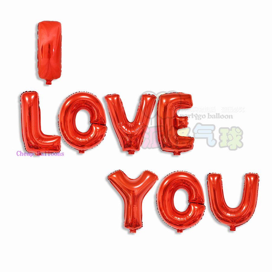 8pcs/lot 16inch Red & Golden I LOVE YOU letter balloons Helium Metallic balloons Wedding birthday party globos Free Shipping(China (Mainland))