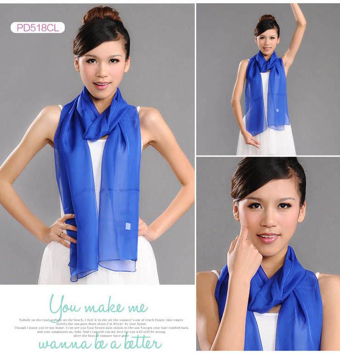 Lady Women scarves long Soft Silk Chiffon candy Scarf Wedding Party High Quality scarves Wrap Shawl Stole Dark blue L001(China (Mainland))