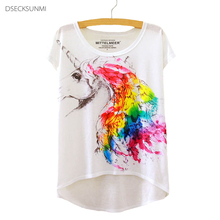 2016 Brand New Cotton T-Shirt Women Short Sleeve t-shirts o-neck Causal loose Magic Unicorn T Shirt Summer tops for women