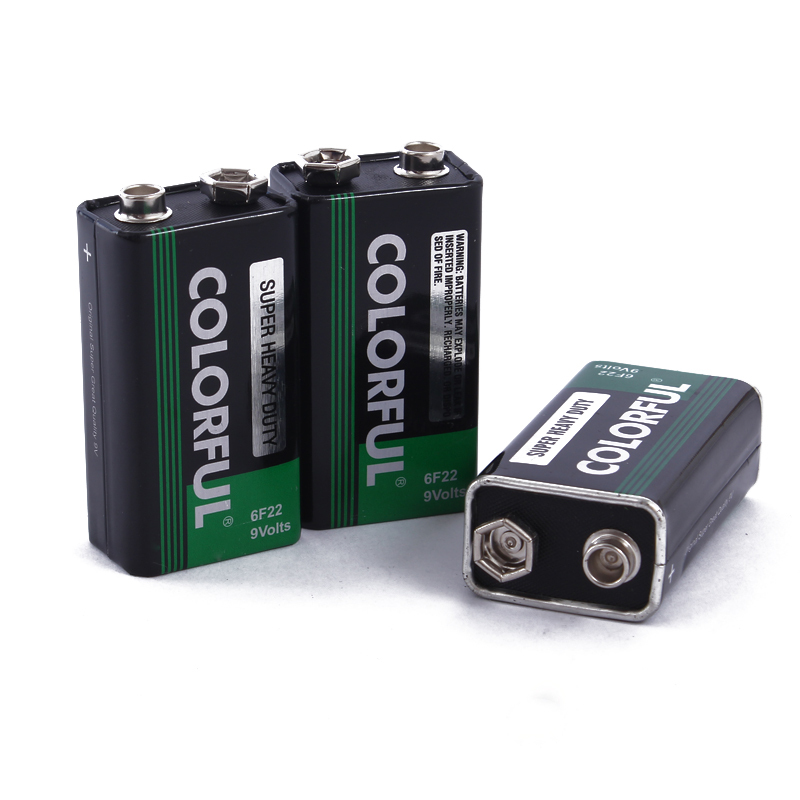 0032 Battery Primary Dry Batteries Carbon 9V 6F22 300mAh ce COLORFUL Microphone square instrumentation 48mm 25mm