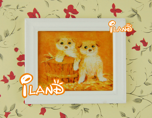 iland 1/12 Dollhouse Miniatures Wall hanging Framed Picture With Cute Dogs OM022