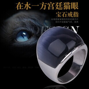 The Newest!!!IL105 Popular Punk Gothic Palace Retro Stainless Steel Ring With Cat's Eye Stone For Men And Woman(China (Mainland))