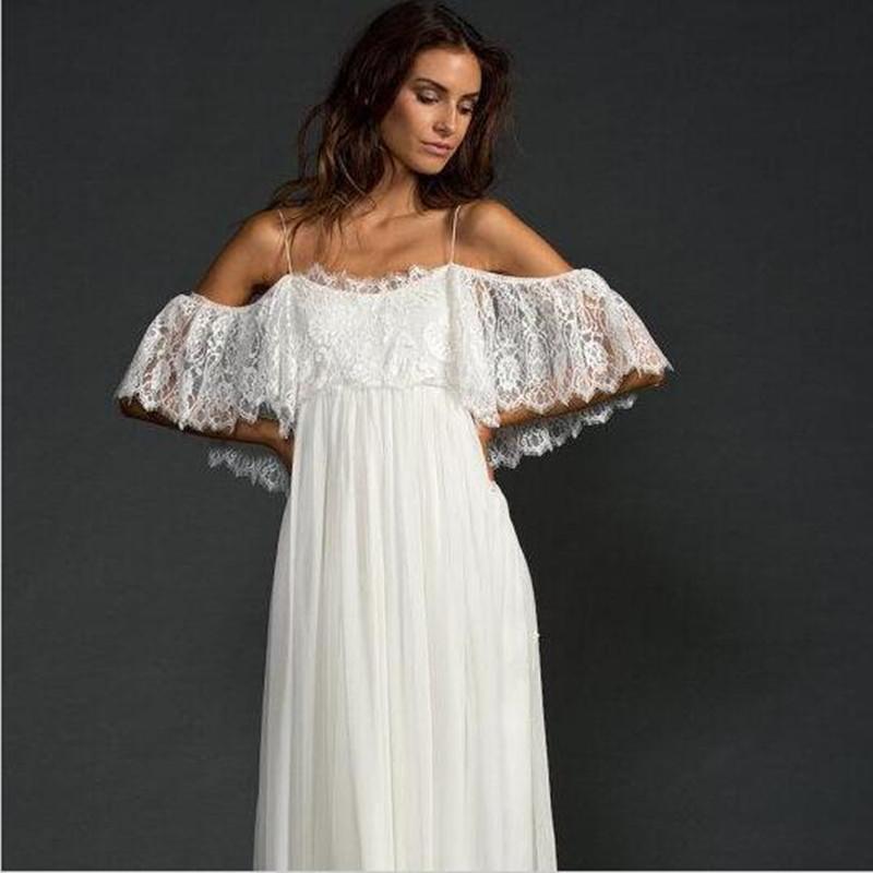 Wedding Dress Thin Lace Straps : Aliexpress buy low back lace beach wedding