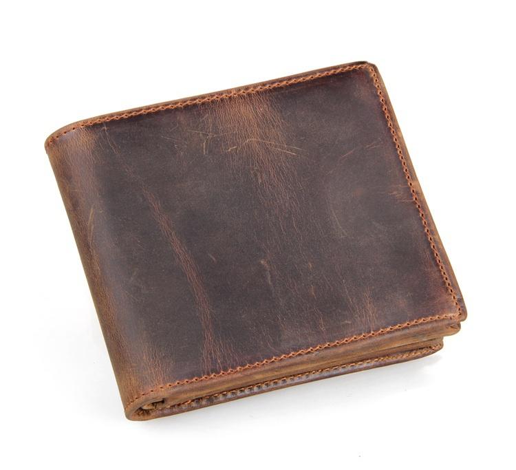 Genuine leather men Wallets 2015 New arrival man brand design purse card vintage wallet card holder short fold wallets men 2015(China (Mainland))