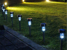 Domestic service Free Shipping 10Pcs/lot Outdoor Stainless Steel Led Solar Power Lights Lawn Landscape Path Light Solar Lamp(China (Mainland))