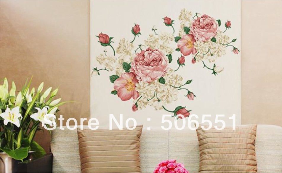 Buy Diy Chinese Style Mural Pvc Decorative Peony Flower Wall Sticker For Room