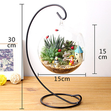 12 Inch 30cm Hanging Holder Crystal Terrarium Container Without Glass Ball Vase Pot Iron Stand Holder Decoration Home Decor(China (Mainland))