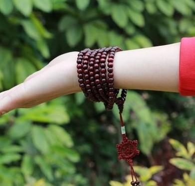 Free Shipping Tibetan Jewelery Red Wood Sandalwood Prayer 216 Beads Multiturn Buddha Bracelet for Men/Women Fashion Jewelry(China (Mainland))