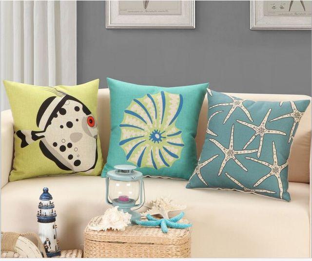 45X45 СМ Морских организмов наволочка диванную подушку подушка подушки Nordic белье подушки