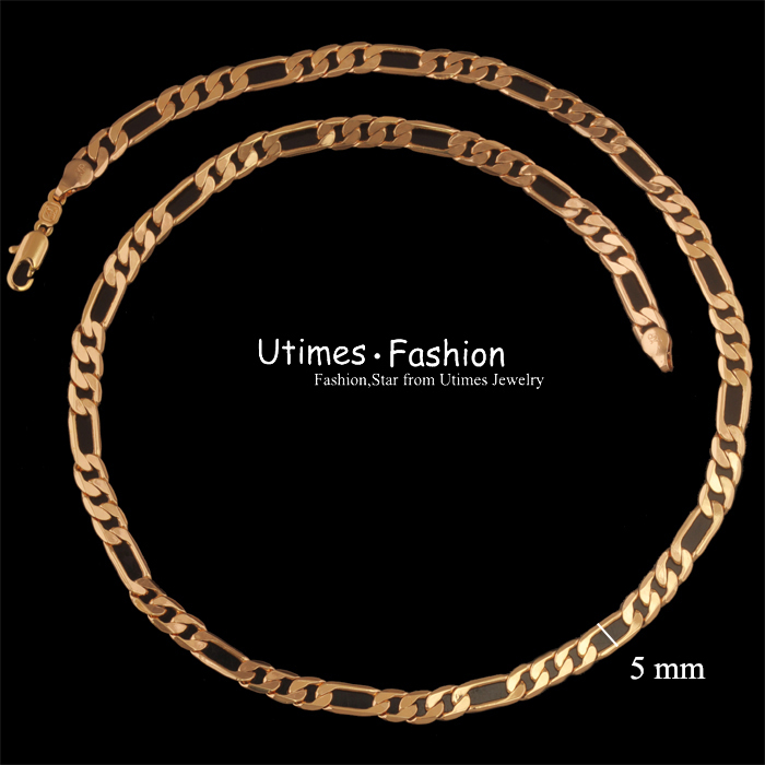 (500*5mm)Fashion 18k Gold Chain Necklace for Men Nickel free(China (Mainland))