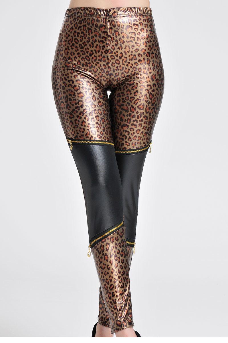 Wet Look Leopard Print Leggings with Zipper Decor LC79536 Adventure Time Women Leggings Warm Fitness(China (Mainland))